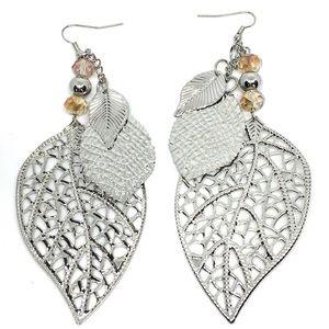 Silver Leaves & Crystal Boho Dangle Drop Earrings